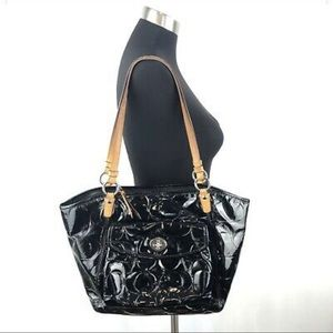 Coach Leah Black Patent Leather Tote bag